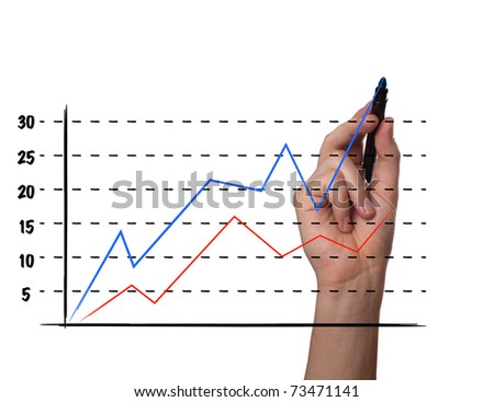 Businessman drawing a graph on a glass screen, isolated on white background - stock photo