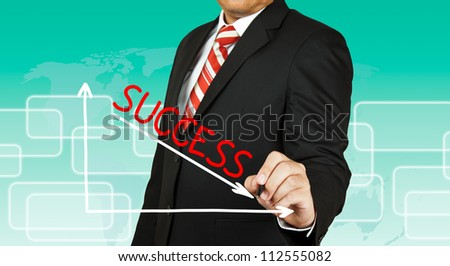 Businessman drawing a graph with Success going down