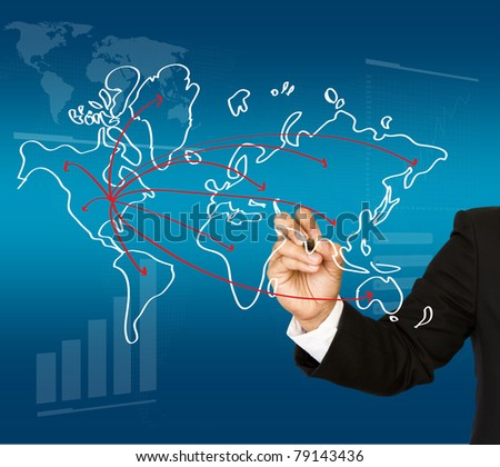 Businessman drawing a map