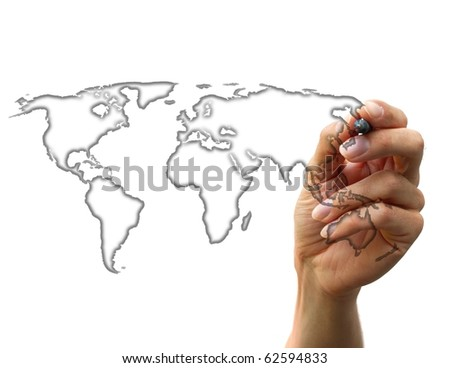 businessman drawing a map isolated on a white background
