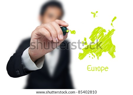 Businessman drawing a map of continent Europe.