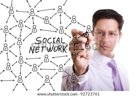 businessman drawing a social business network scheme on a whiteboard (selective focus)