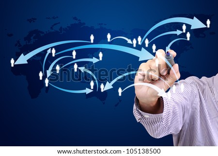 businessman drawing a social network scheme on a whiteboard
