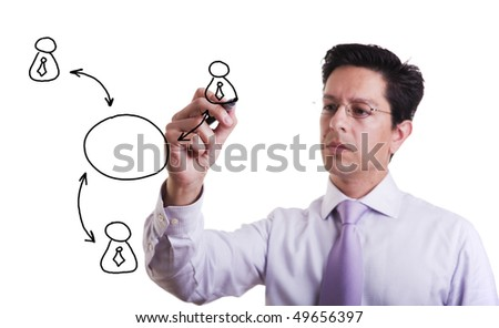 businessman drawing a social network scheme on a whiteboard (selective focus)