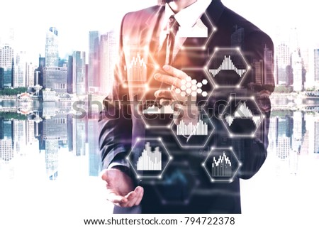 businessman drawing abstract...
