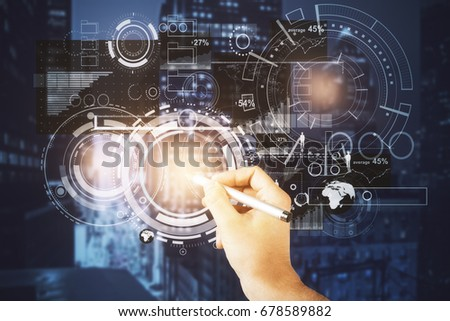 Businessman drawing abstract digital business projection on night city background. Tech concept. Double exposure  #678589882