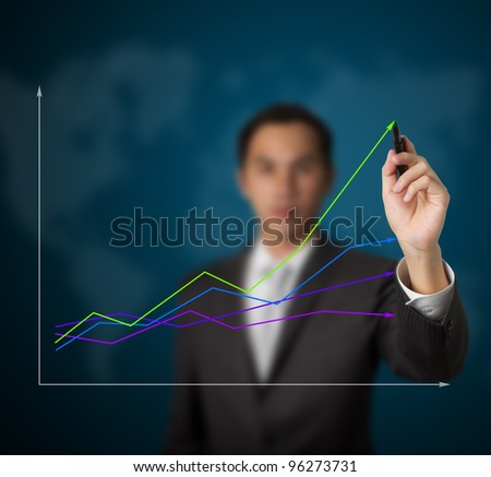businessman drawing abstract graph of green business leading the world