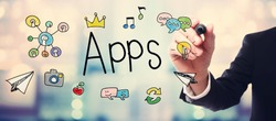 Businessman drawing APPS concept on blurred abstract background