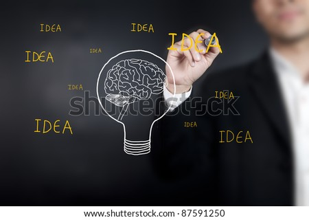 Businessman drawing brain with wording