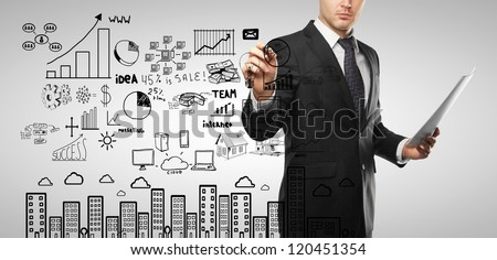 businessman drawing business concept on a white background