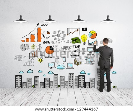 businessman drawing business concept on wall