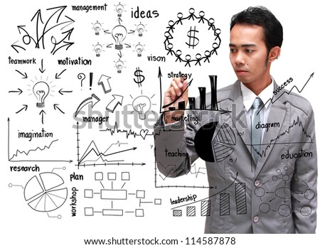 businessman drawing business plan concept,  on white board