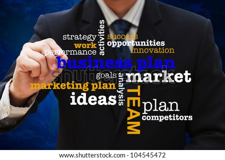 Businessman drawing business plan diagram