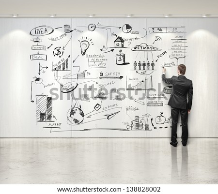 businessman drawing business strategy on the wall