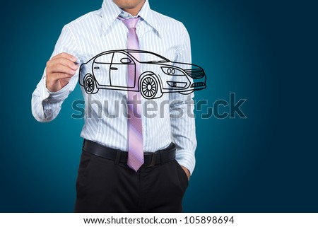 Businessman drawing car in a whiteboard.