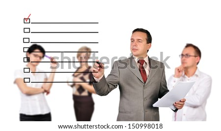 businessman drawing check box  and people on background