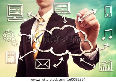 Businessman drawing cloud computing concept with white chalk