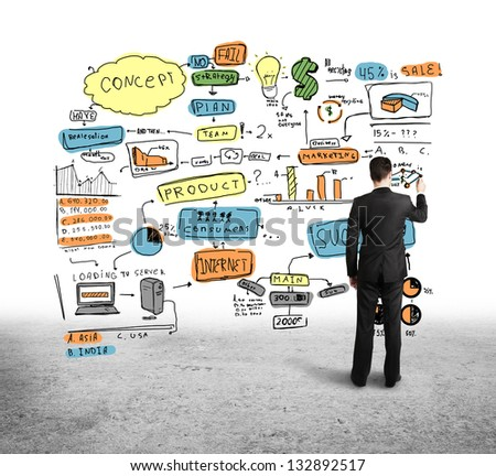 businessman drawing color business strategy