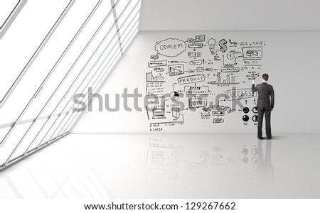 businessman drawing concept in big office