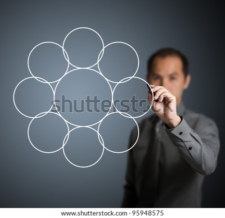 businessman drawing diagram of one circle core and eight intersect component
