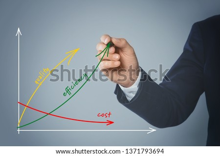 Businessman drawing efficiency graph on virtual screen against color background, closeup