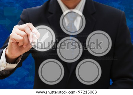 Businessman drawing empty circle diagram