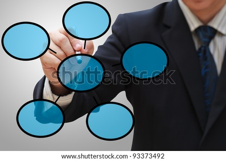 Businessman drawing empty diagram - stock photo