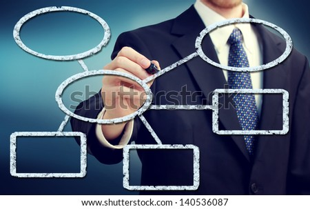 Businessman drawing flowchart with a blue background