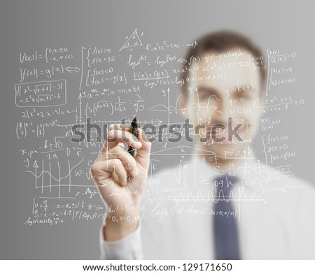 businessman drawing global business concept