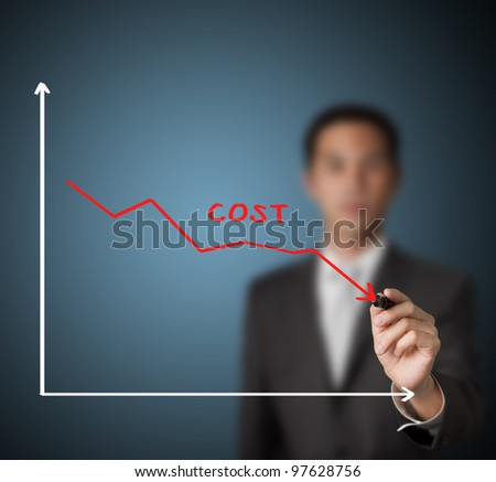 businessman drawing graph of cost reduction - stock photo