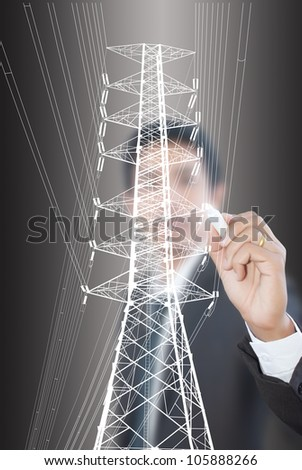 Businessman Drawing High voltage power pole line.