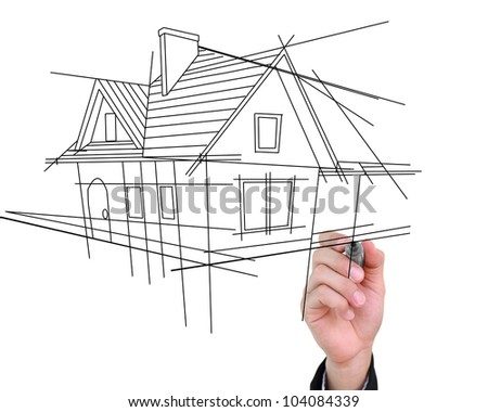 Businessman drawing house isolated on white background.