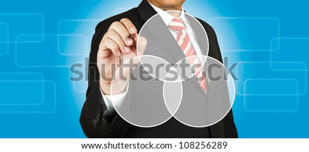 Businessman drawing intersected circle diagram