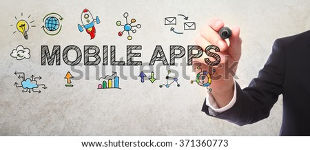 Businessman drawing Mobile Apps concept with a marker #371360773