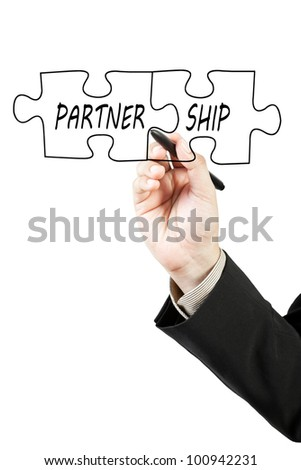 Businessman drawing partnership puzzle pieces