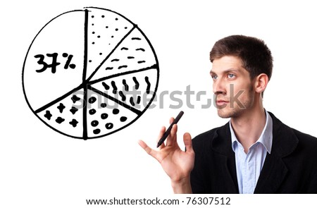 Businessman drawing pie chart in whiteboard, isolated on white