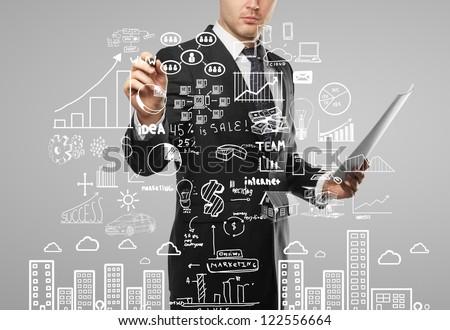 businessman drawing plan business concept