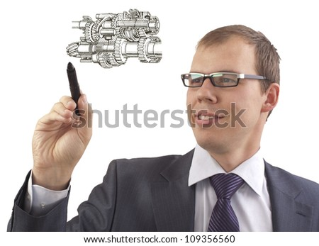 Businessman drawing Plan scheme automotive transmission comprising gears and shafts