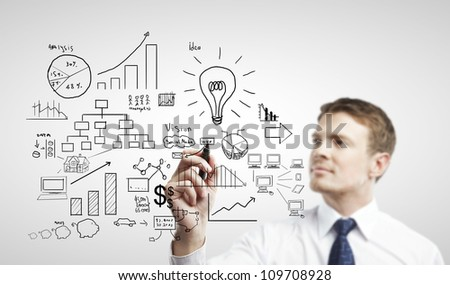 businessman drawing plan strategy success