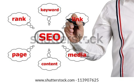 businessman drawing scheme seo on a white background
