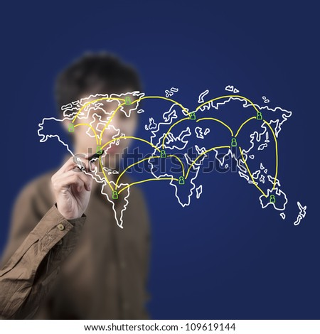 businessman drawing social network on world map