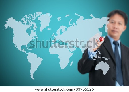 Businessman drawing social network structure in a whiteboard