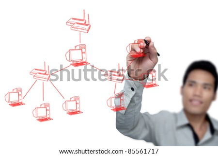 Businessman drawing system of the Internet.