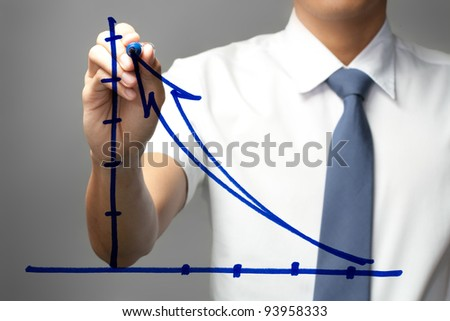 Businessman drawing the graph on whiteboard