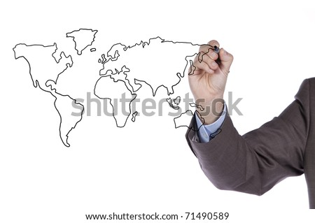 businessman drawing the world map in a whiteboard (selective focus)