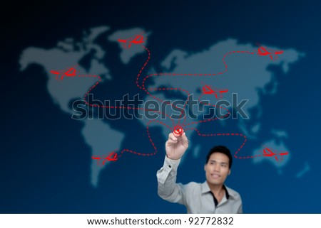 Businessman drawing transportation by aircraft.