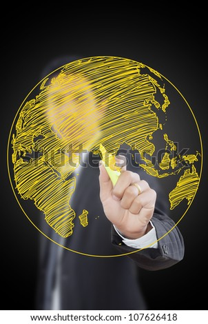 Businessman Drawing World Map Globe line on the whiteboard.