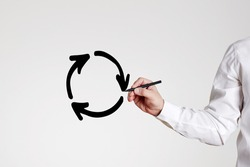 Businessman draws a recycling circle with arrows on gray background. Business or economic stagnation or recycle concept.