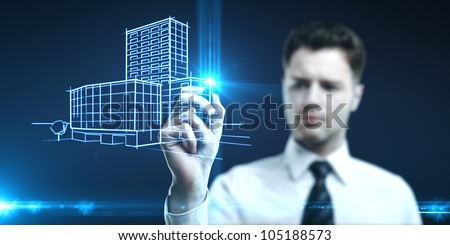 businessman draws, concept of creation