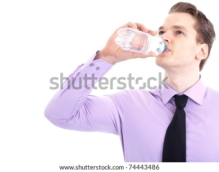 Businessman drinking refreshing water, isolated on white background